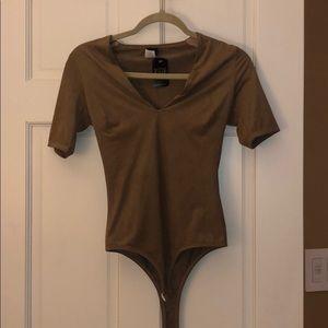 Camel color suede bodysuit